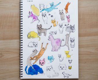 いろんな猫をスケッチブックに描く